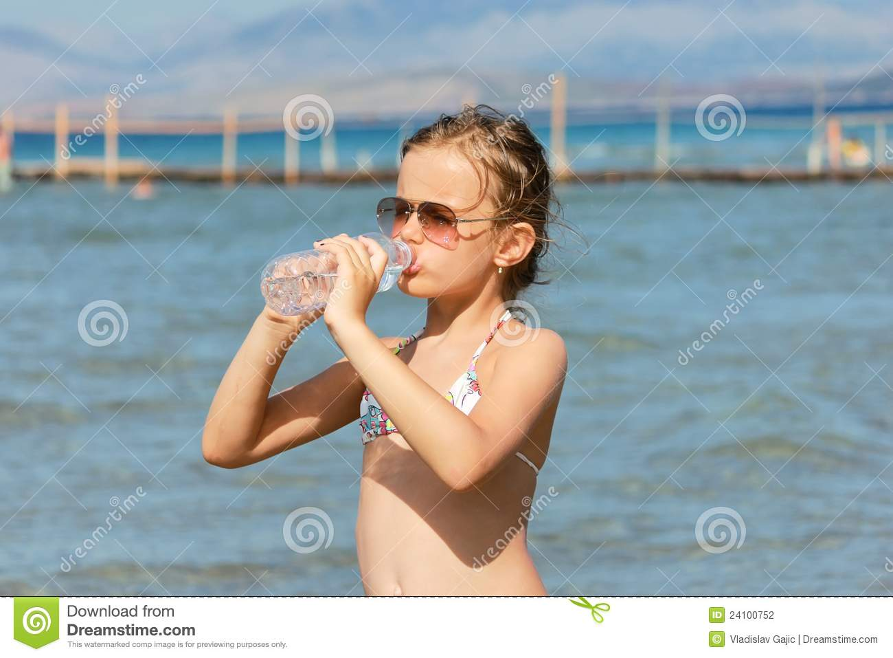 Girl Drinking Water From The Bottle Stock Photography ...