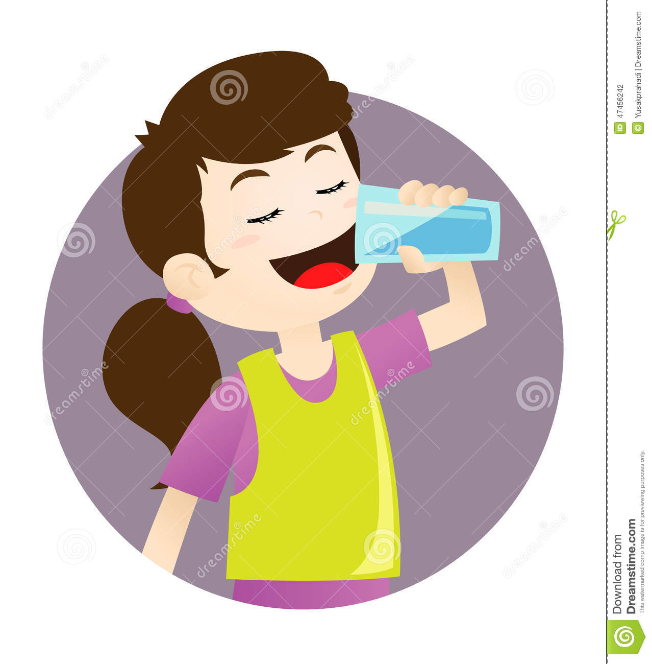 Vector illustration of a girl drinking a glass of water.