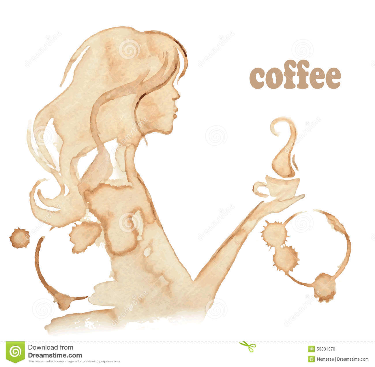 Girl Drinks Coffee Drawing With Coffee Stains Stock