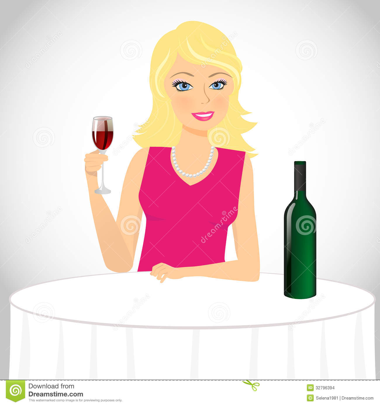 Girl Drinks Wine Stock Vector. Image Of Alcohol, Female