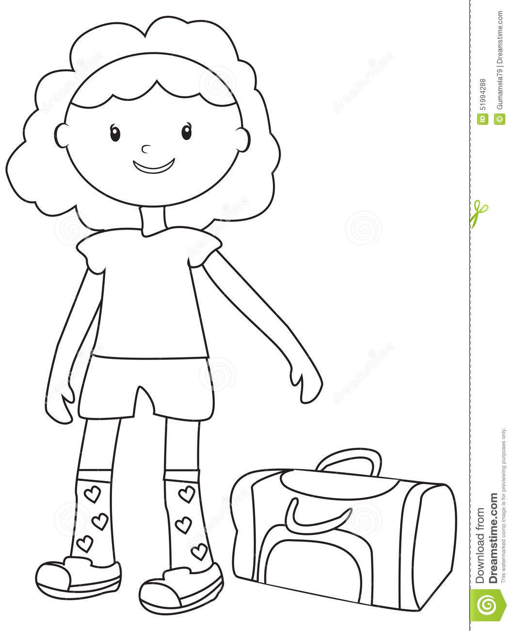 girl with a duffel bag coloring page stock illustration