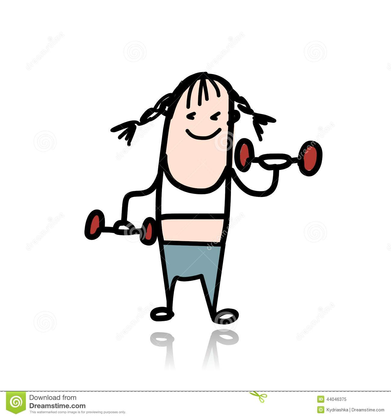 Cartoon Characters Exercising : Girl with dumbbells doing exercises cartoon stock vector