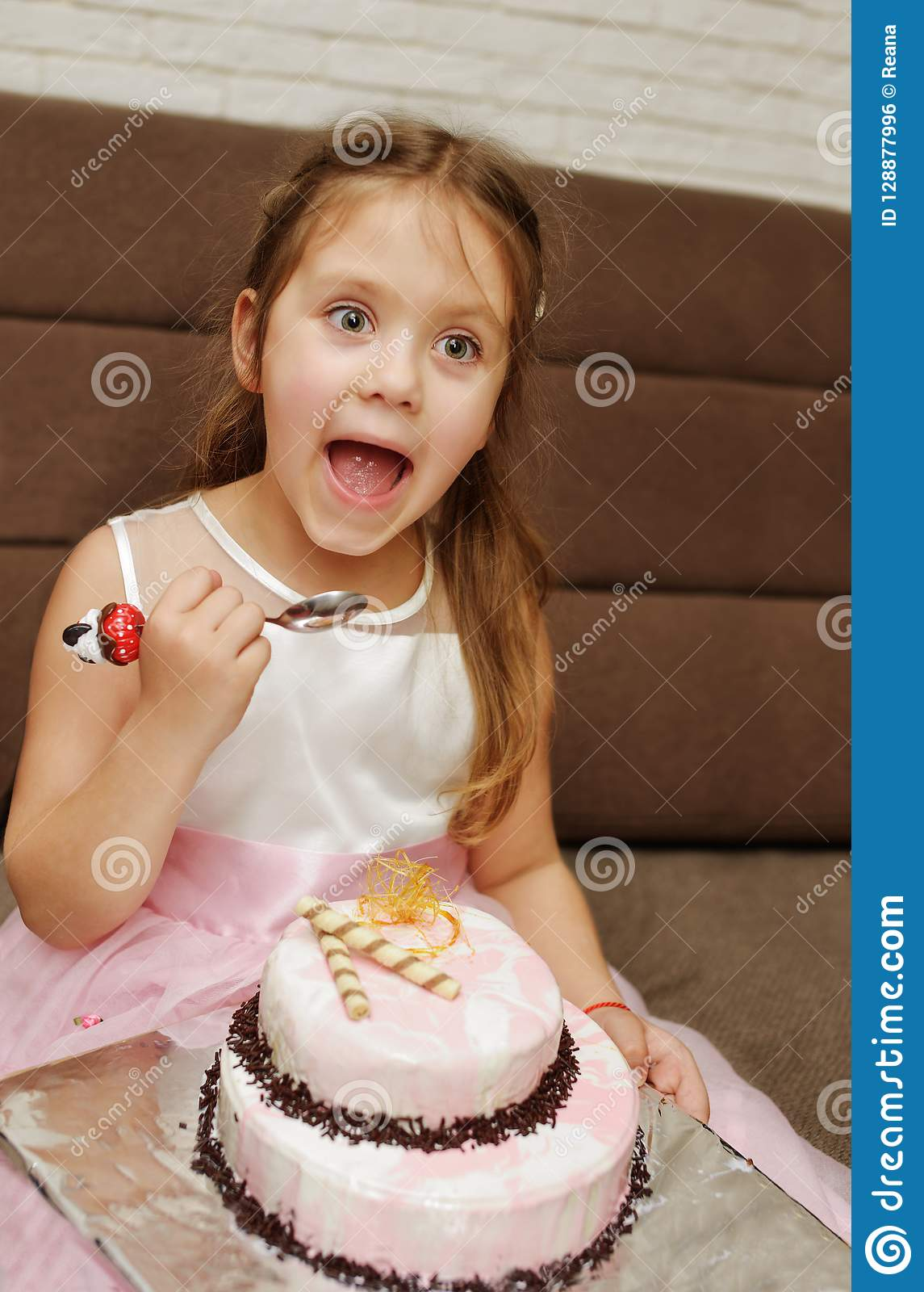 Strange Girl Eating Birthday Cake Stock Photo Image Of Color 128877996 Personalised Birthday Cards Petedlily Jamesorg