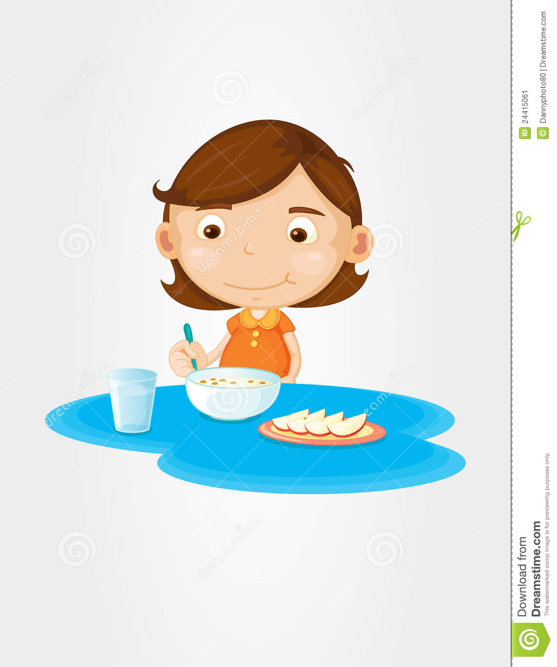 Girl eating breakfast stock illustration. Illustration of ...