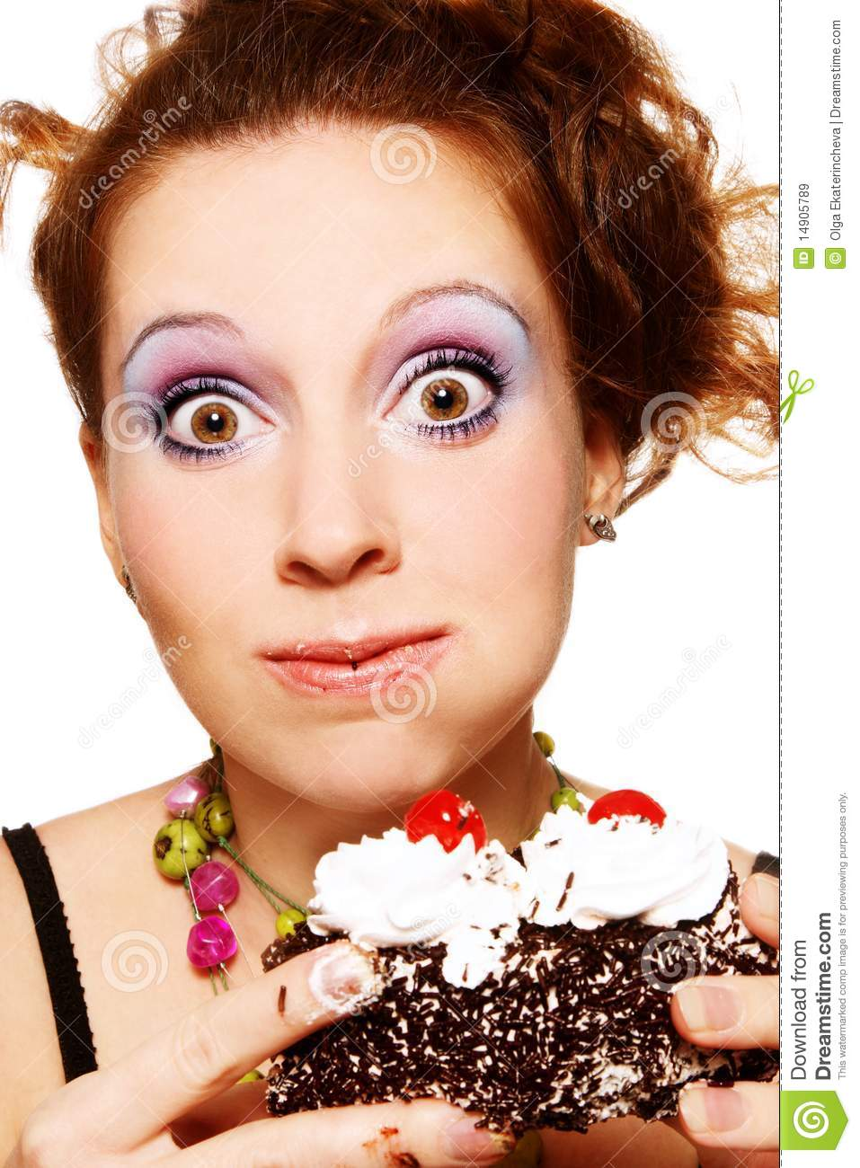 Girl Eating Cake Stock Image Image Of Cake Girl Bulimia