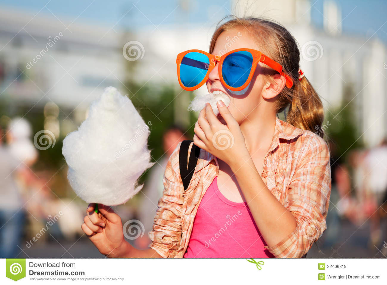 Download Fashion Teen Girl Eating Cotton Candy Walking In City Street Stock Image - Image of candy, cute: 22406319