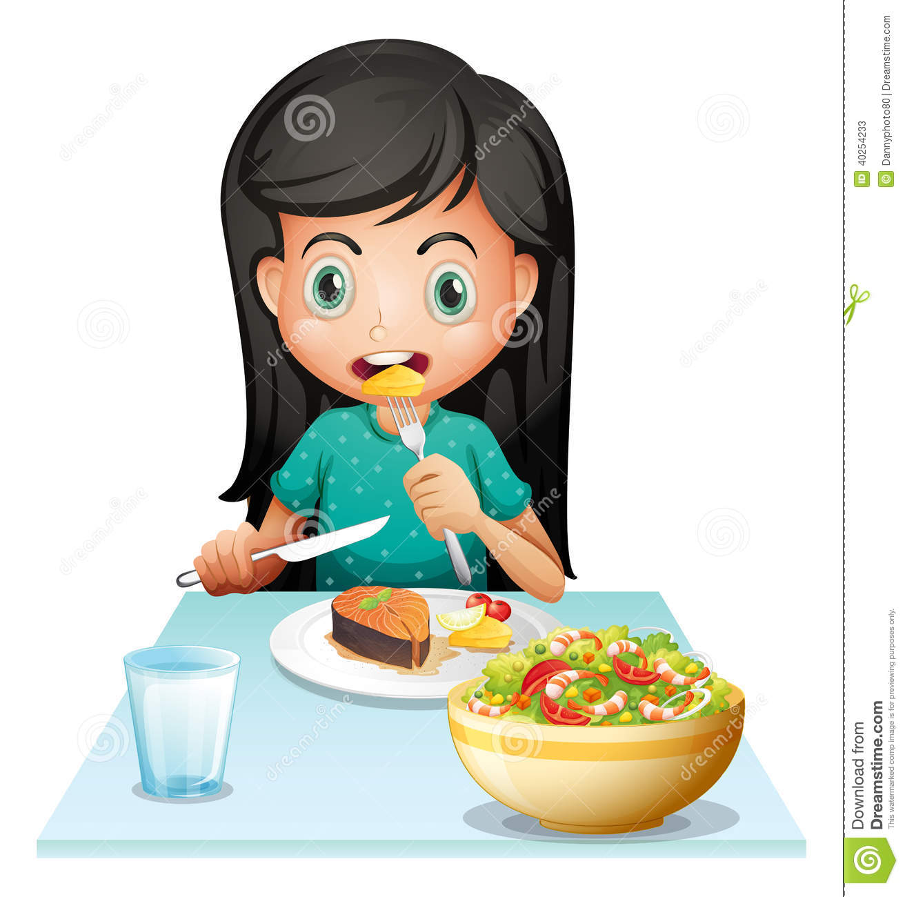 clipart girl eating breakfast - photo #36