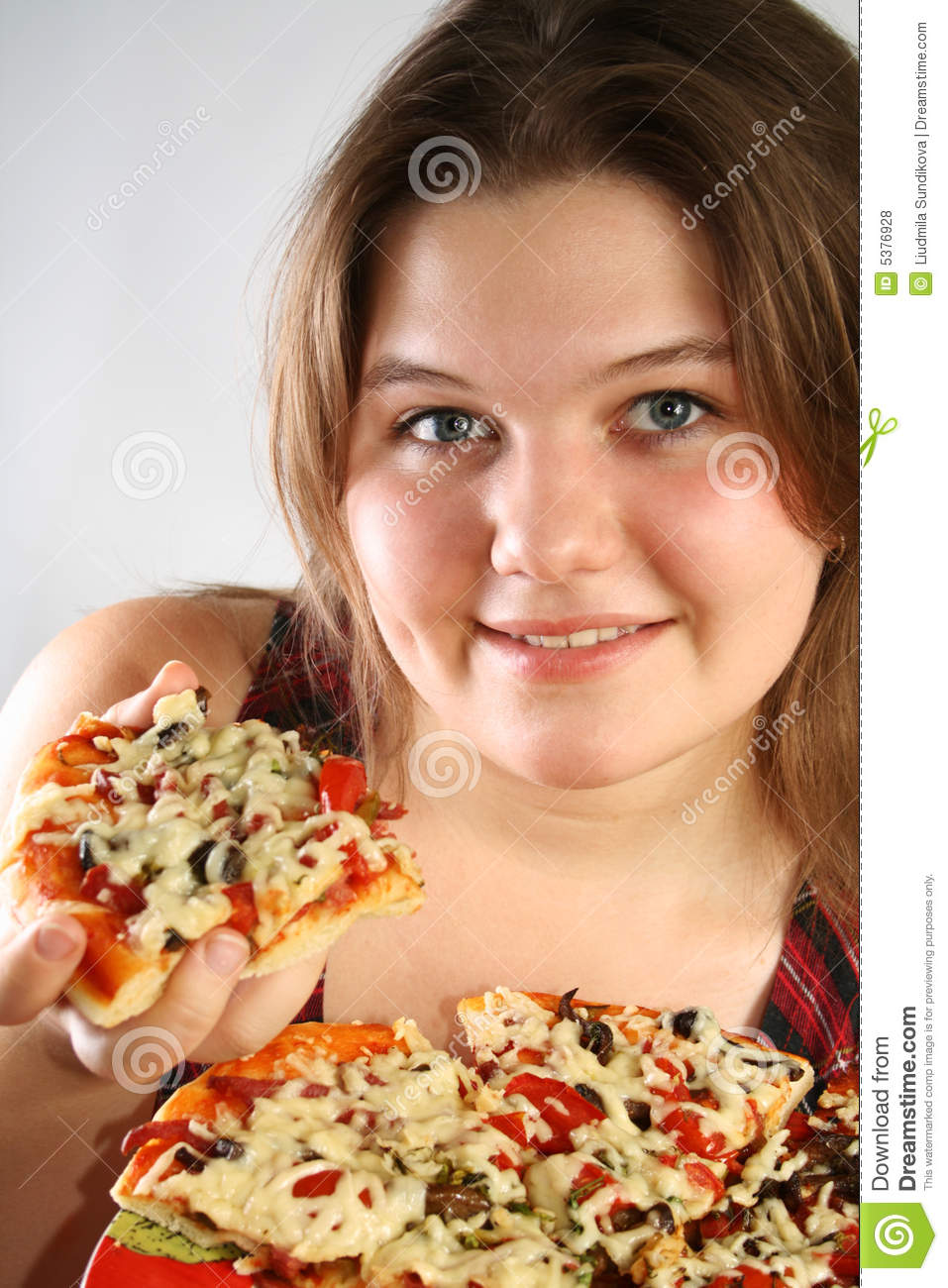 Beautiful Eat In Kitchens: Beautiful Girl Eating Tasty Pizza Stock Photography