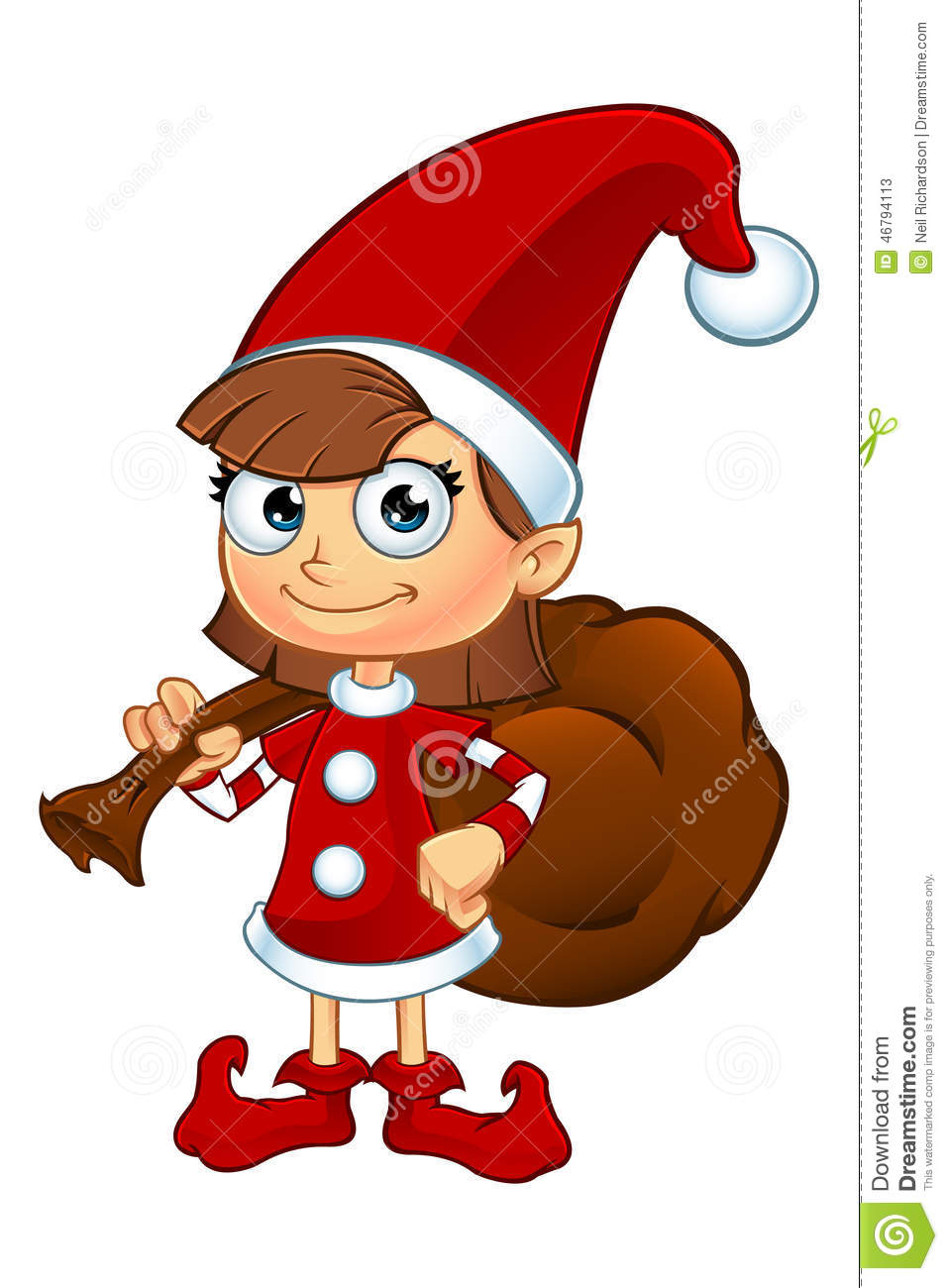 Girl elf character in red stock vector illustration of