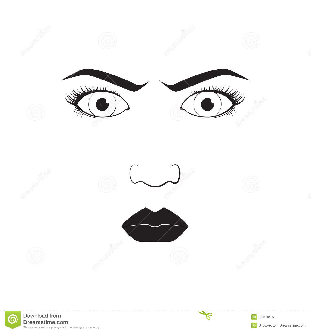 Girl Emotion Face Angry Cartoon Vector Illustration And Woman Emoji