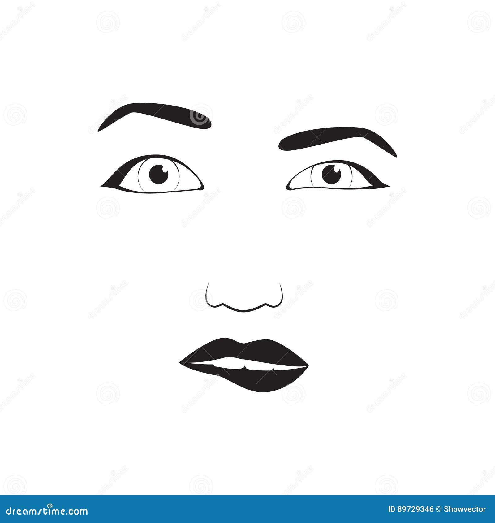 Girl Emotion Face Cartoon Vector Illustration And Woman Emoji Icon