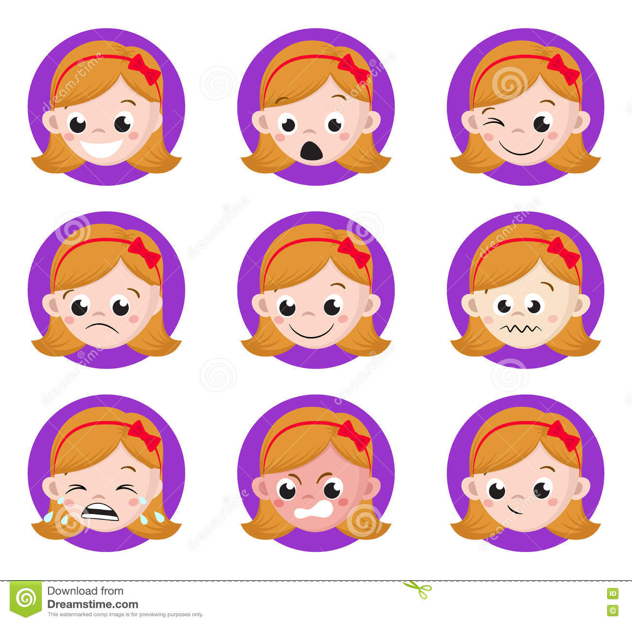 Worksheets Emotion Faces girl emotion faces cartoon set of female avatar expressions stock expressions