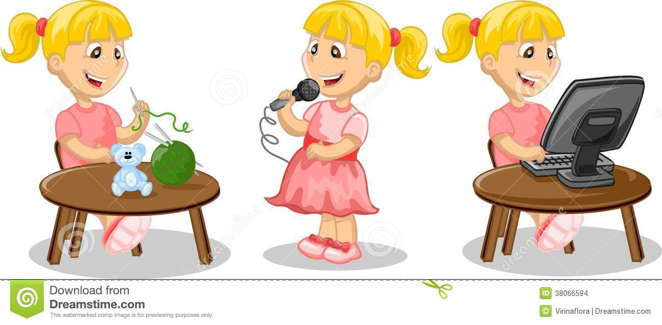 Girl Is Engaged In Hobbies Vector Stock Images Image
