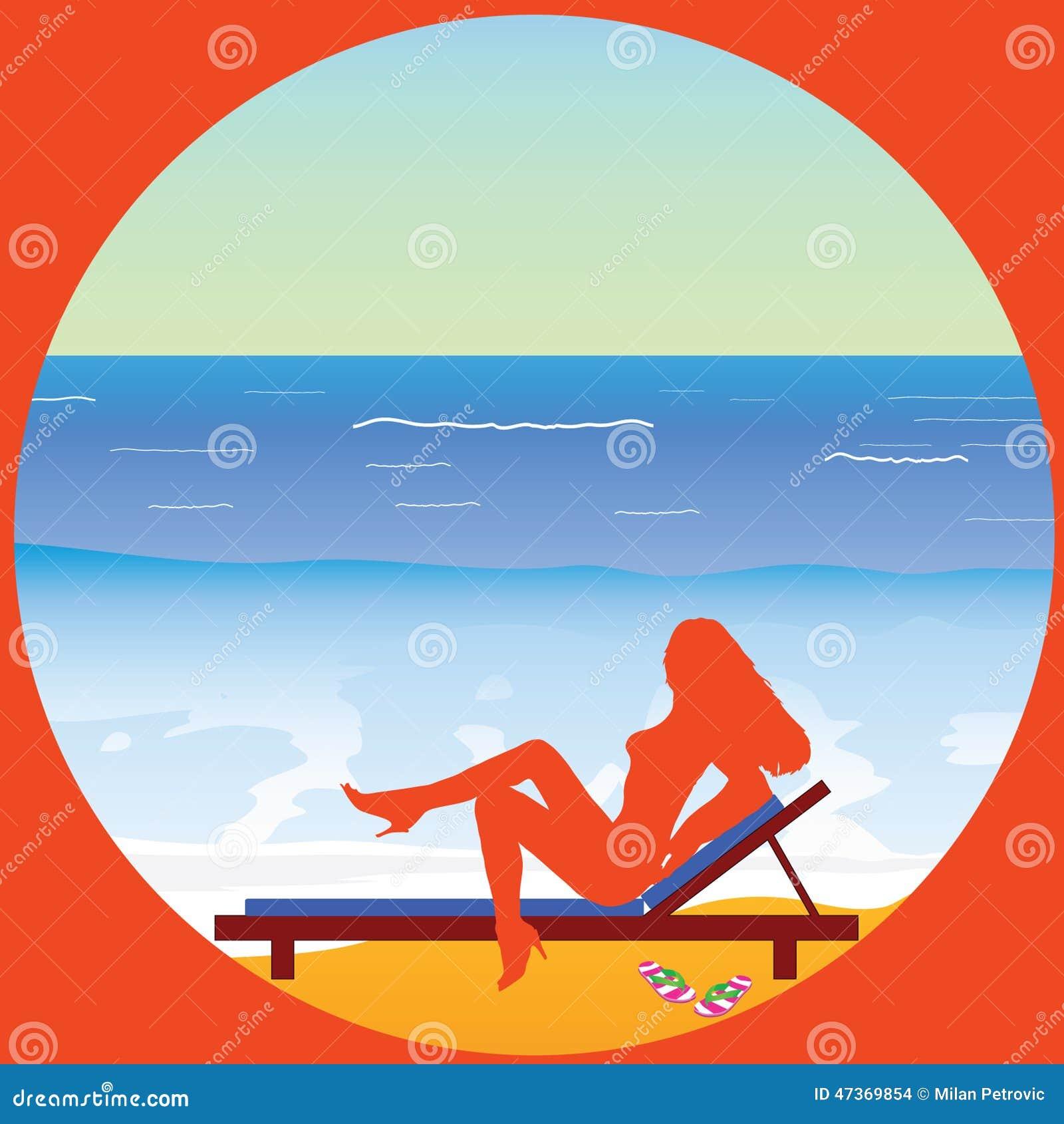 Woman Enjoying At Beach Stock Image Image Of Pleasure: Girl Enjoy On The Paradise Beach Vector Stock Vector