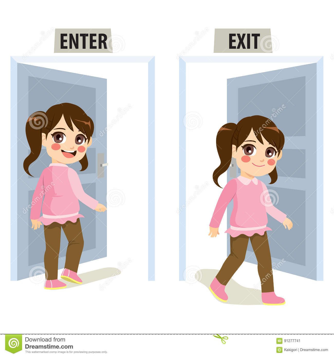 girl enter exit door stock vector illustration of student exit sign clip art free exit sign clip art free