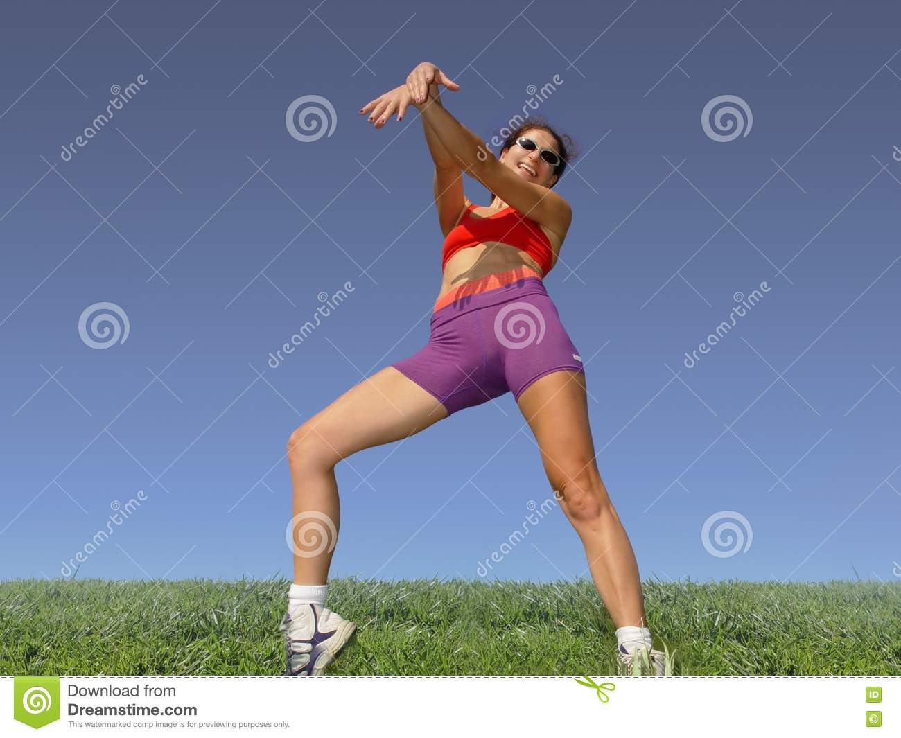Download Girl exercising outdoors stock image. Image of blue, girl - 59441