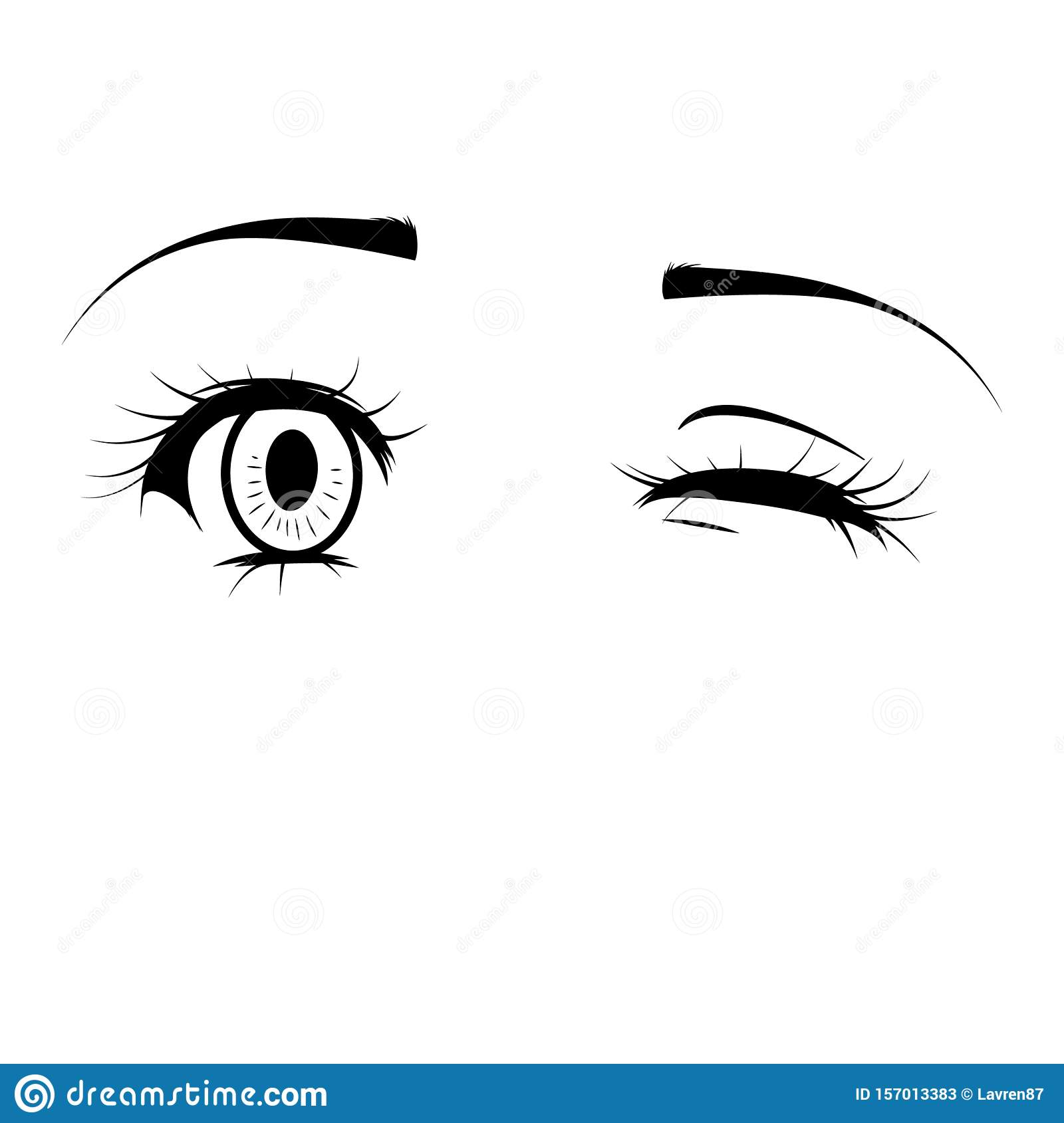 Girl Eyes, Eyes On A White Background. A Glance, A Wink. Vector