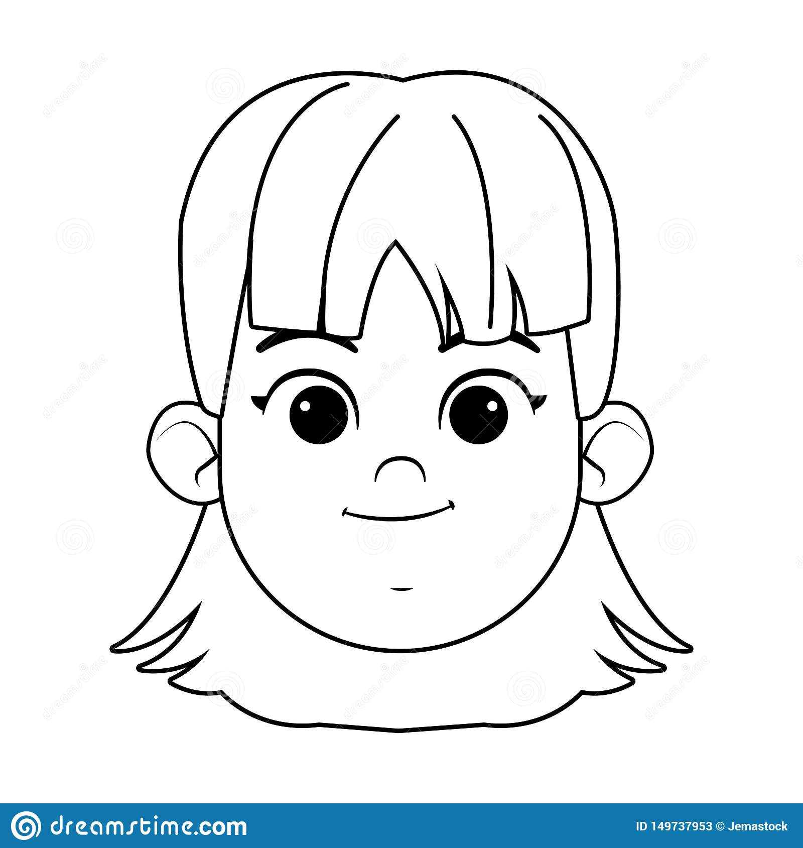 Girl Face Avatar Profile Picture Black And White Stock Vector