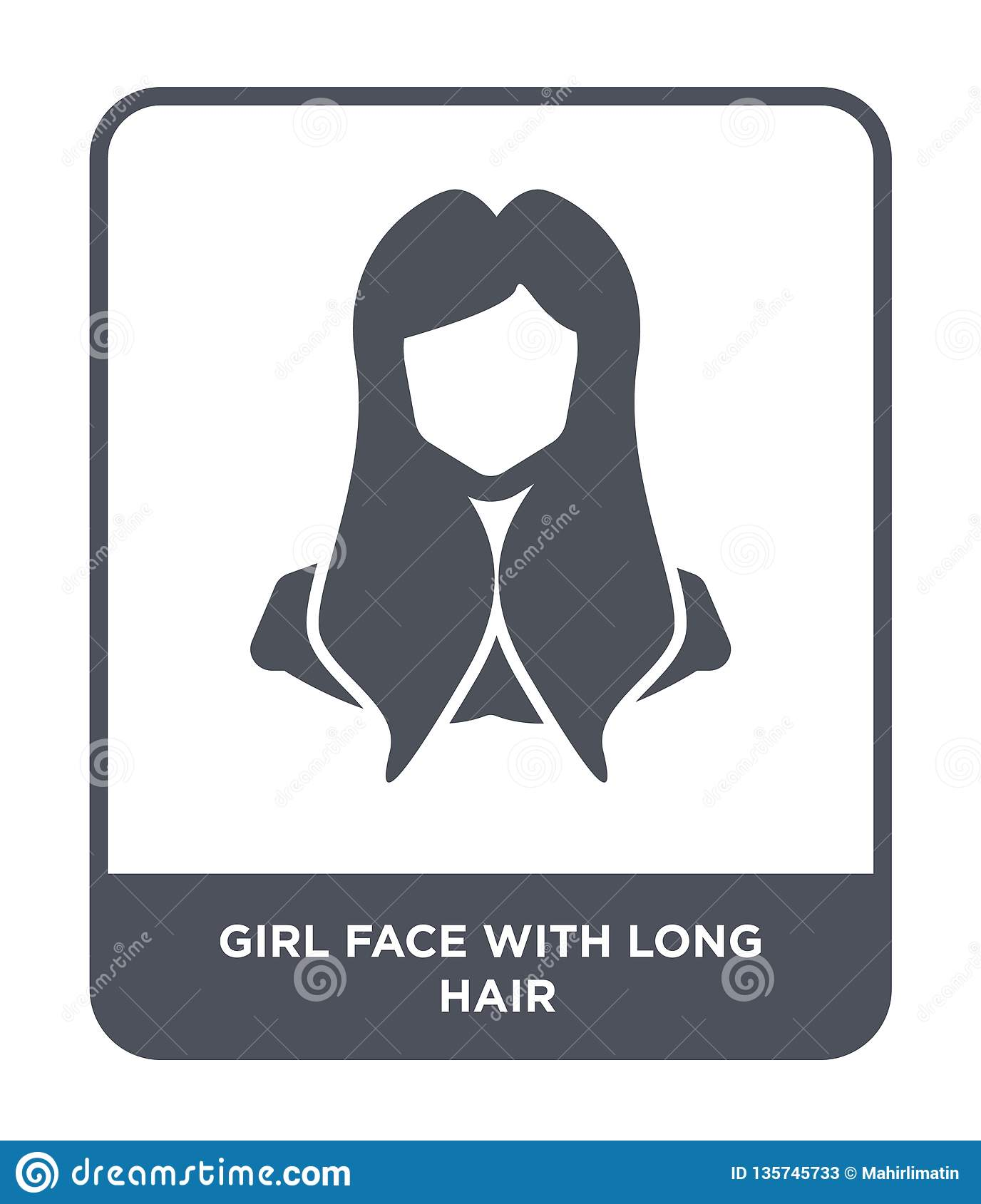 girl face with long hair icon in trendy design style. girl face with long hair icon isolated on white background. girl face with