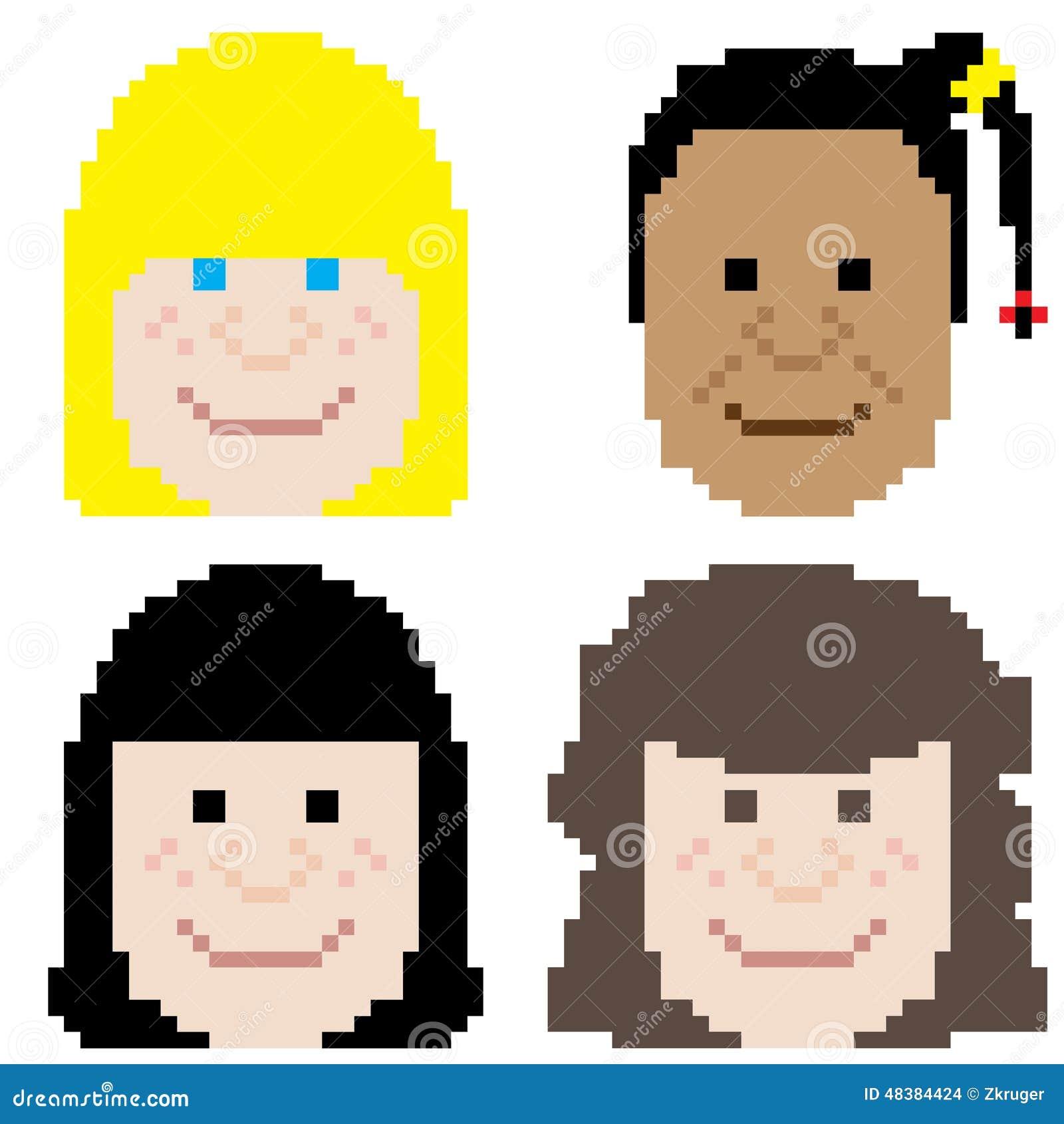 Girl Face Pixel Art Stock Vector. Illustration Of Faces