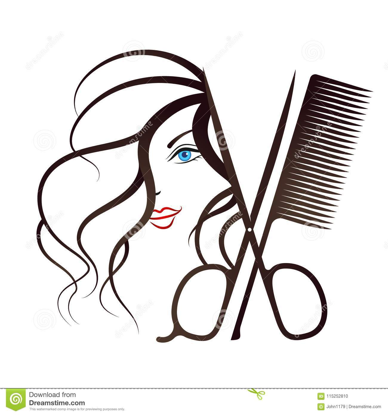 Girl Face And Scissors With Comb Stock Vector Illustration Of