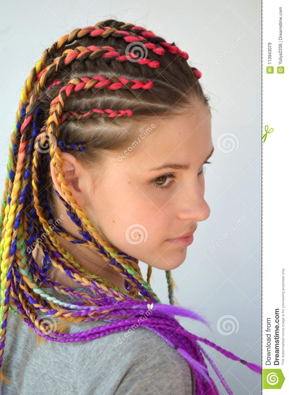 A Girl With A Fashionable Set Of Multicolored Braids
