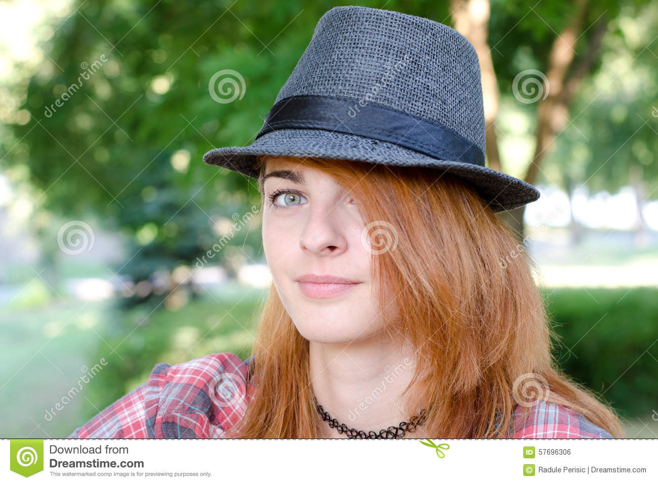 Girl with fedora hat stock photo. Image of female e6fc66e64a1