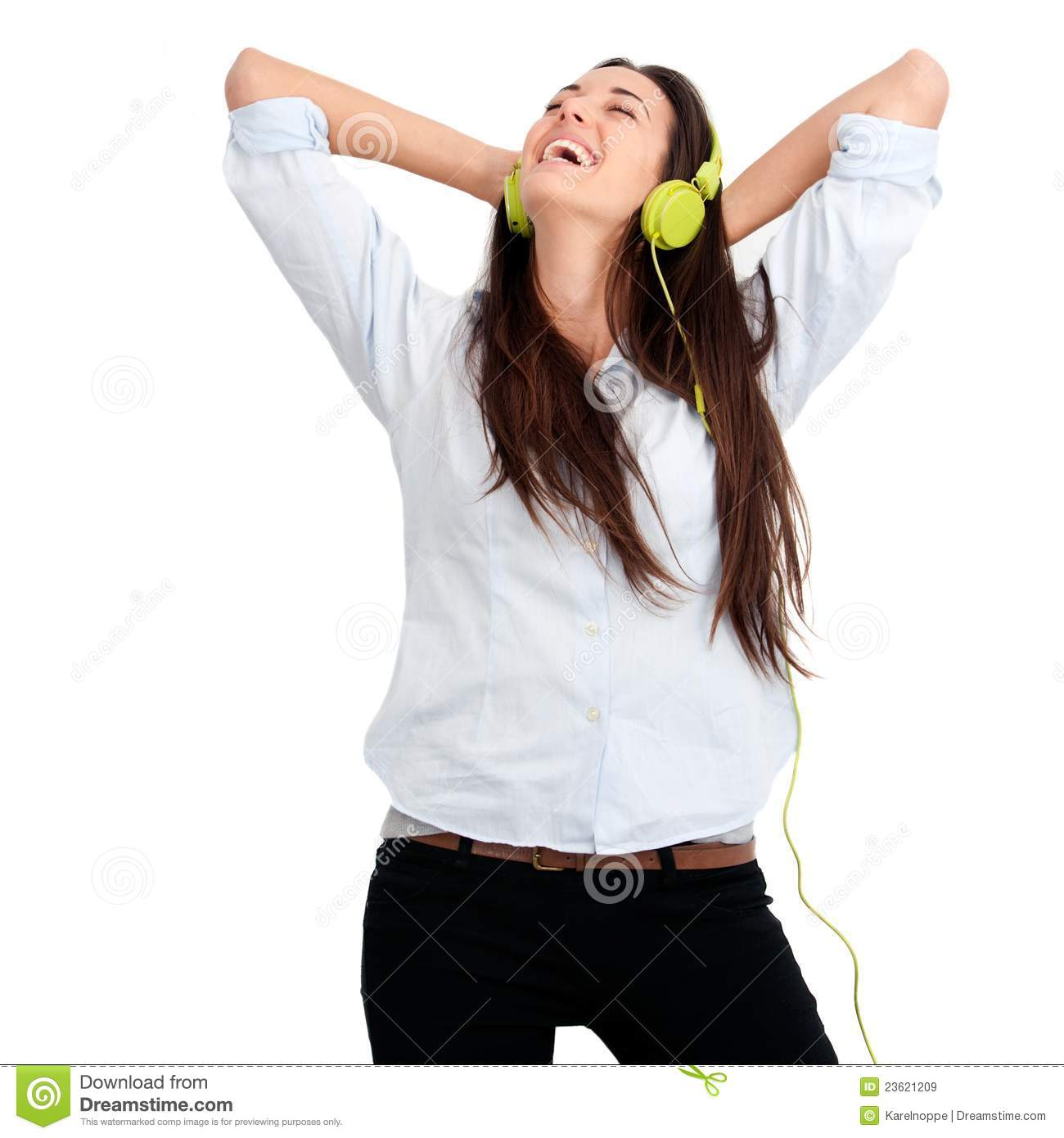 Girl Feeling Happy With Music Royalty Free Stock Images - Image ...