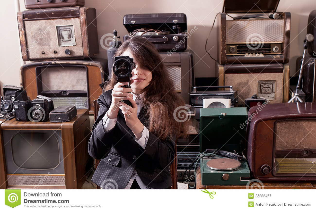 Girl Filming With Vintage Camera Stock Image - Image of corded ...