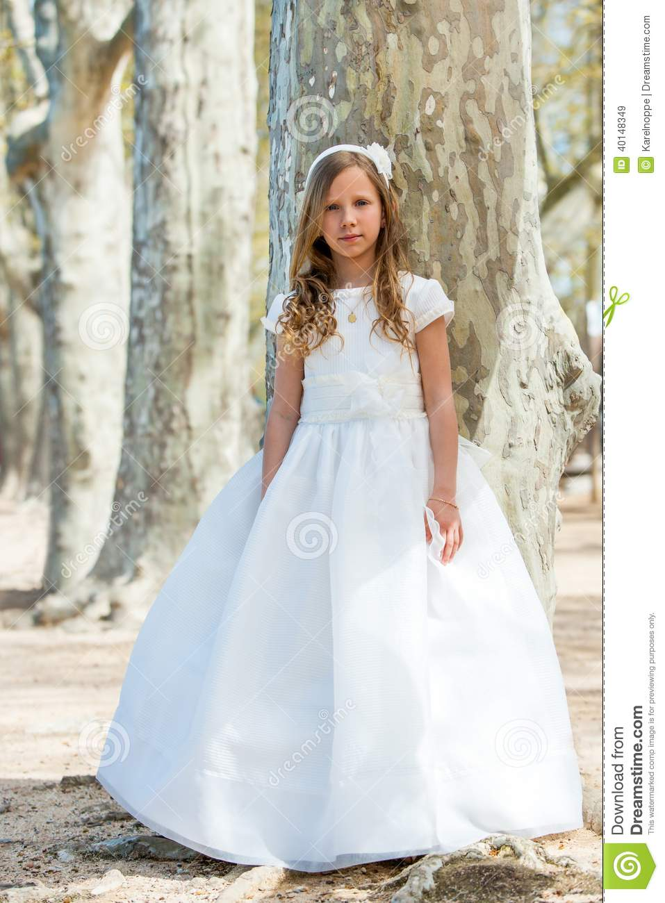 Girl In First Communion Dress Stock Image Image Of