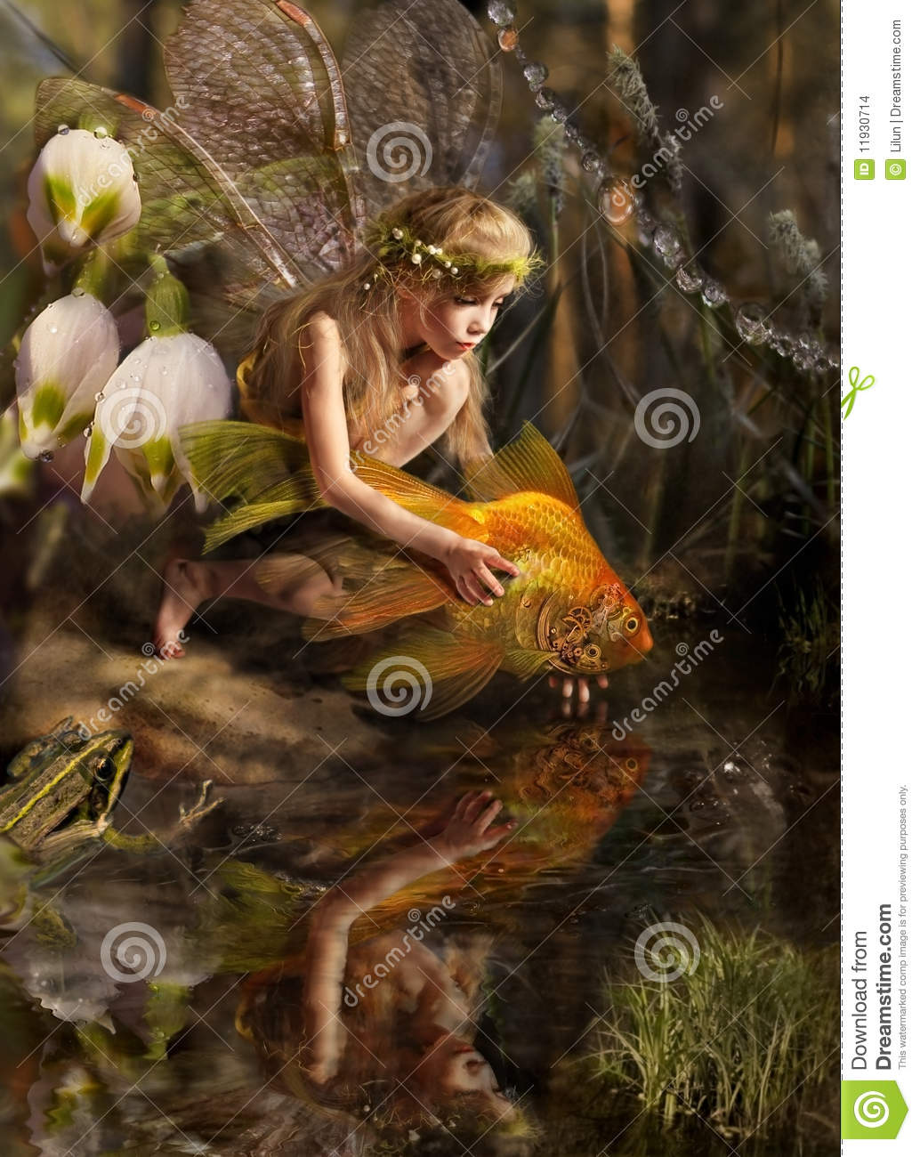 The girl and fish stock illustration illustration of for Fish for girls