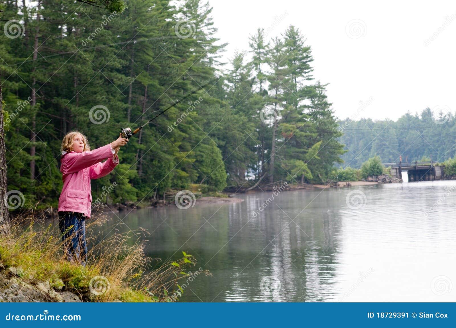 Girl fishing on the bank of a lake stock image image for Banks lake fishing
