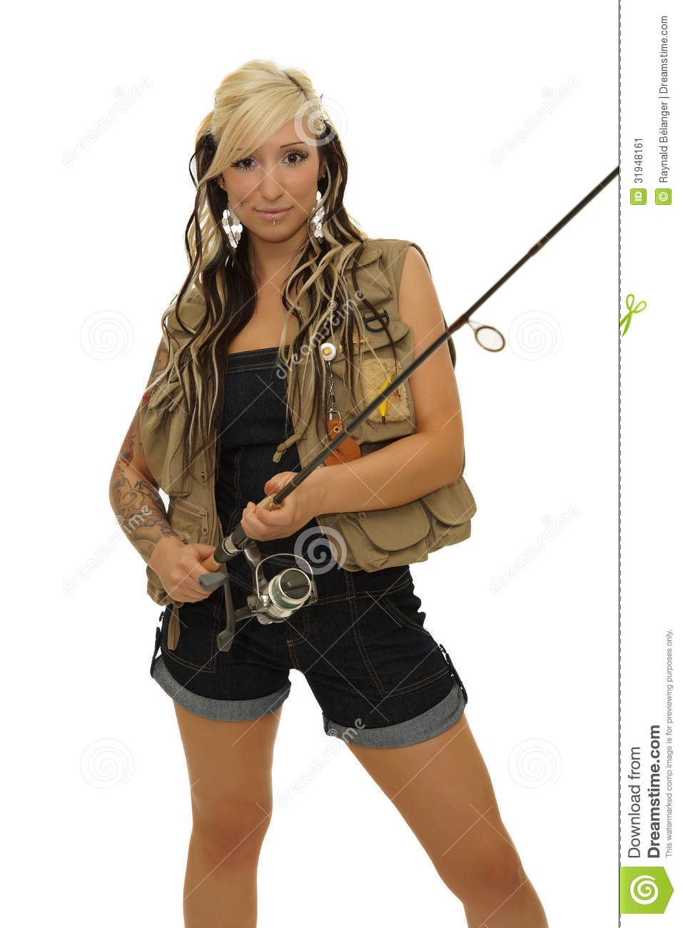 Girl with fishing pole stock image image 31948161 for Little girl fishing pole
