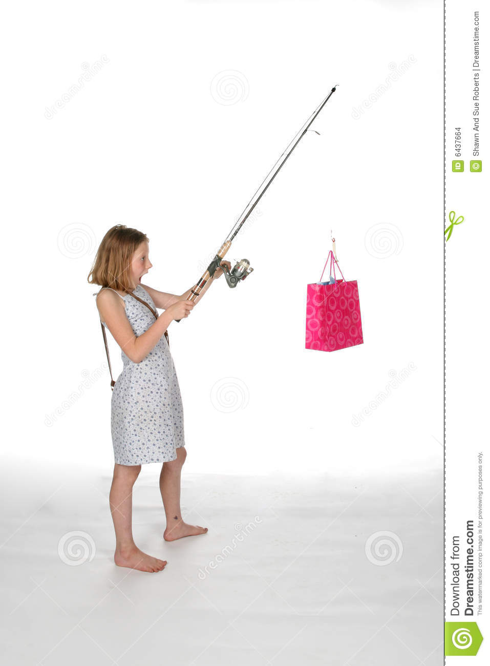 Girl with fishing pole and pink gift bag stock images for Girl fishing pole
