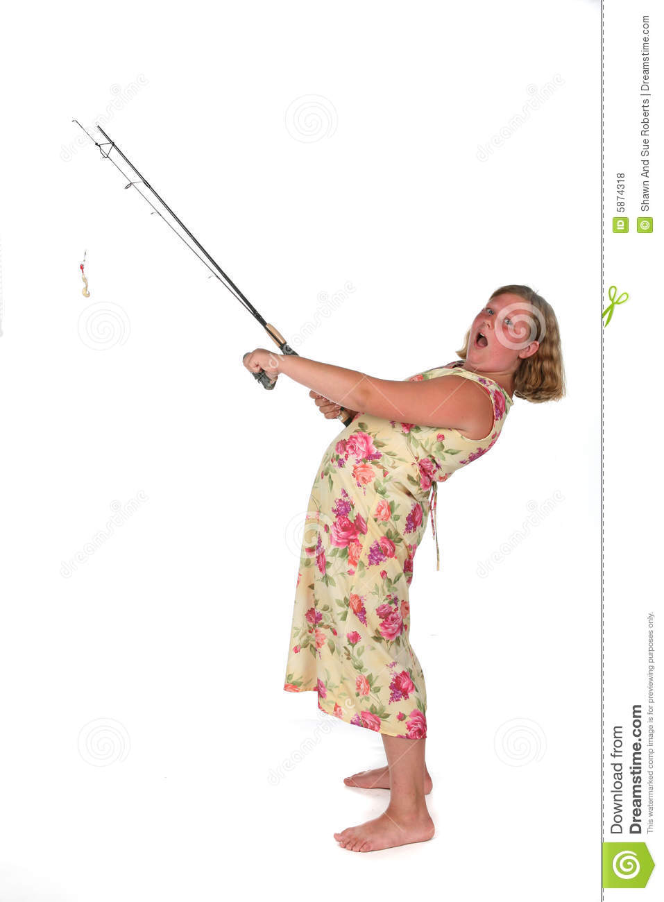 Girl with fishing rod royalty free stock photos image for Girl fishing pole