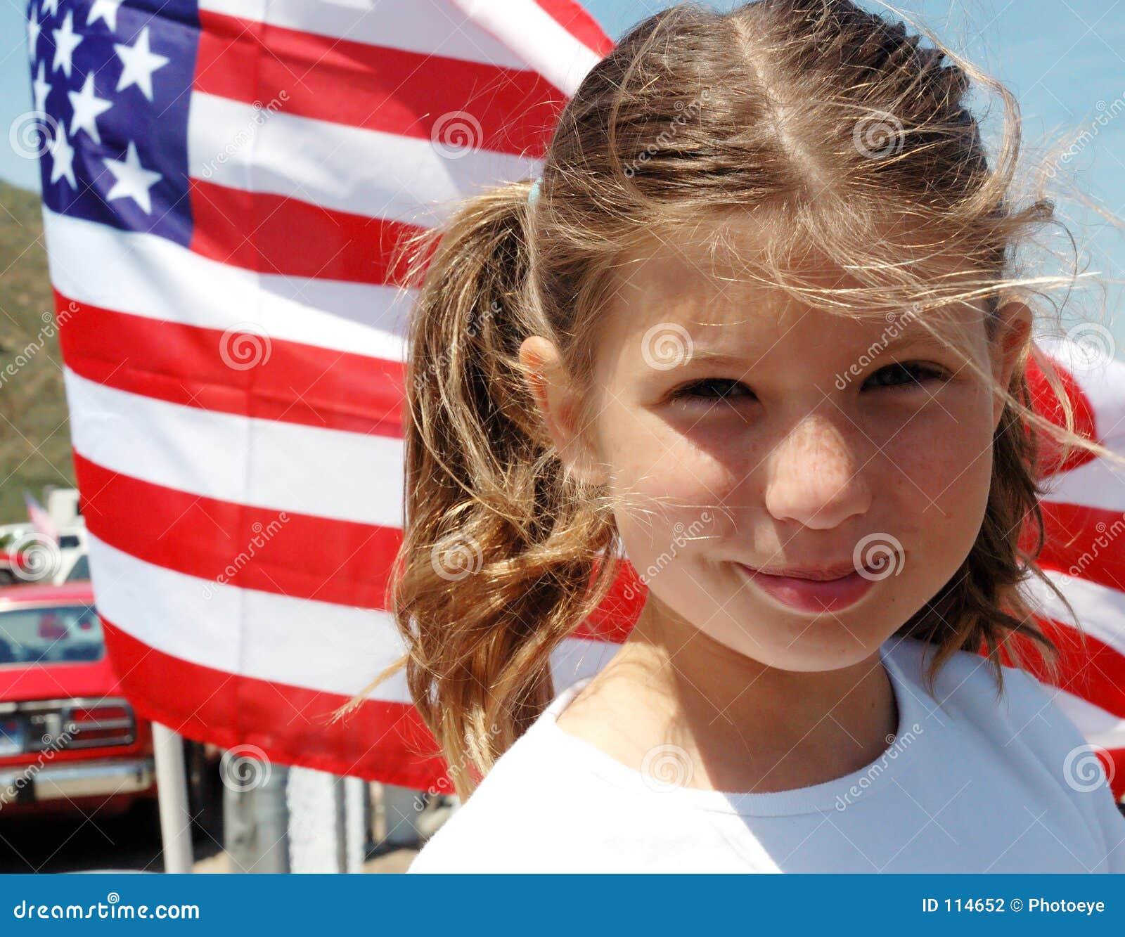 Girl and flag
