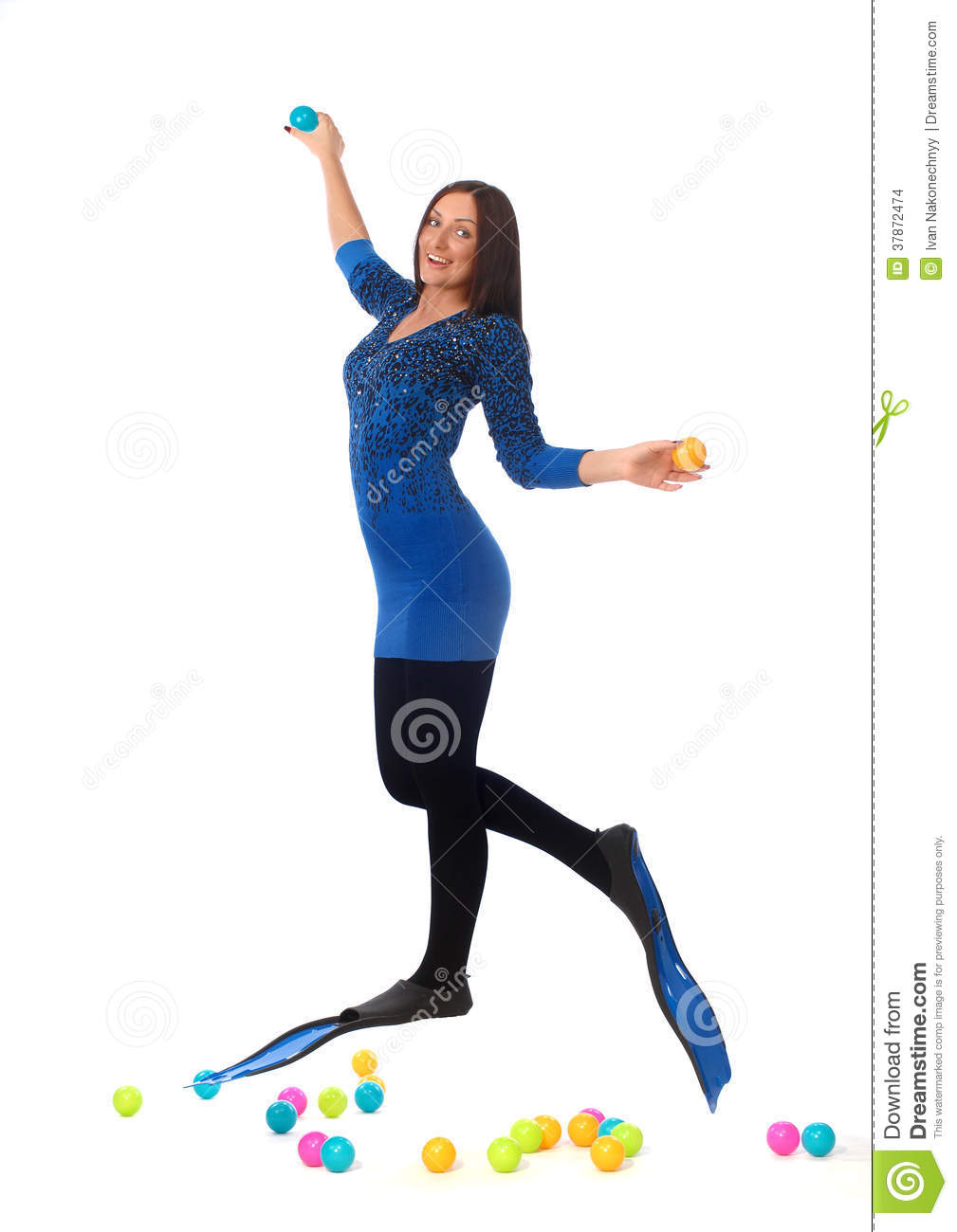 Girl with flippers on white background