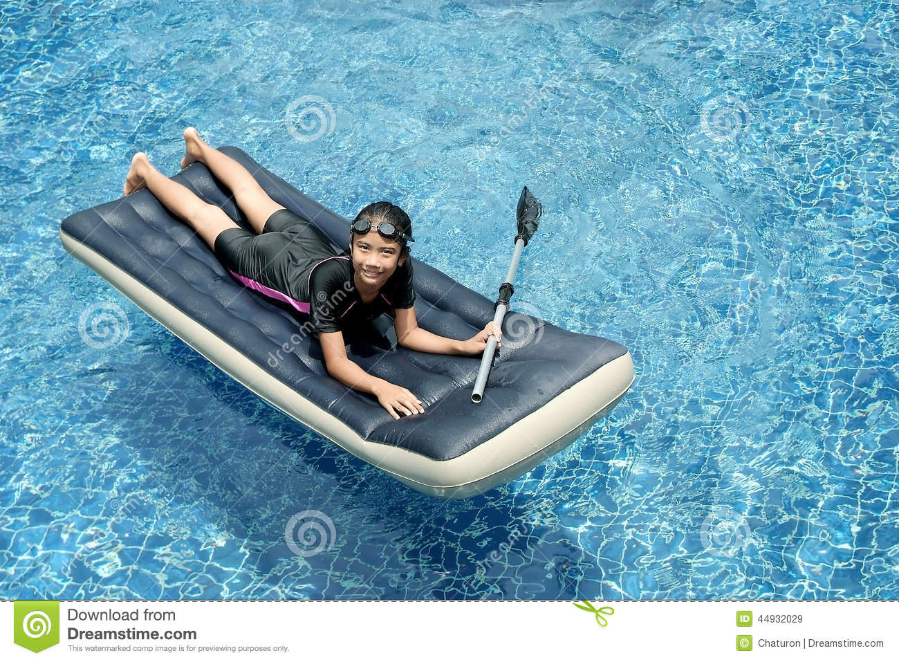 Girl on the floating bed 2 stock image image 44932029 for Swimming pool bed