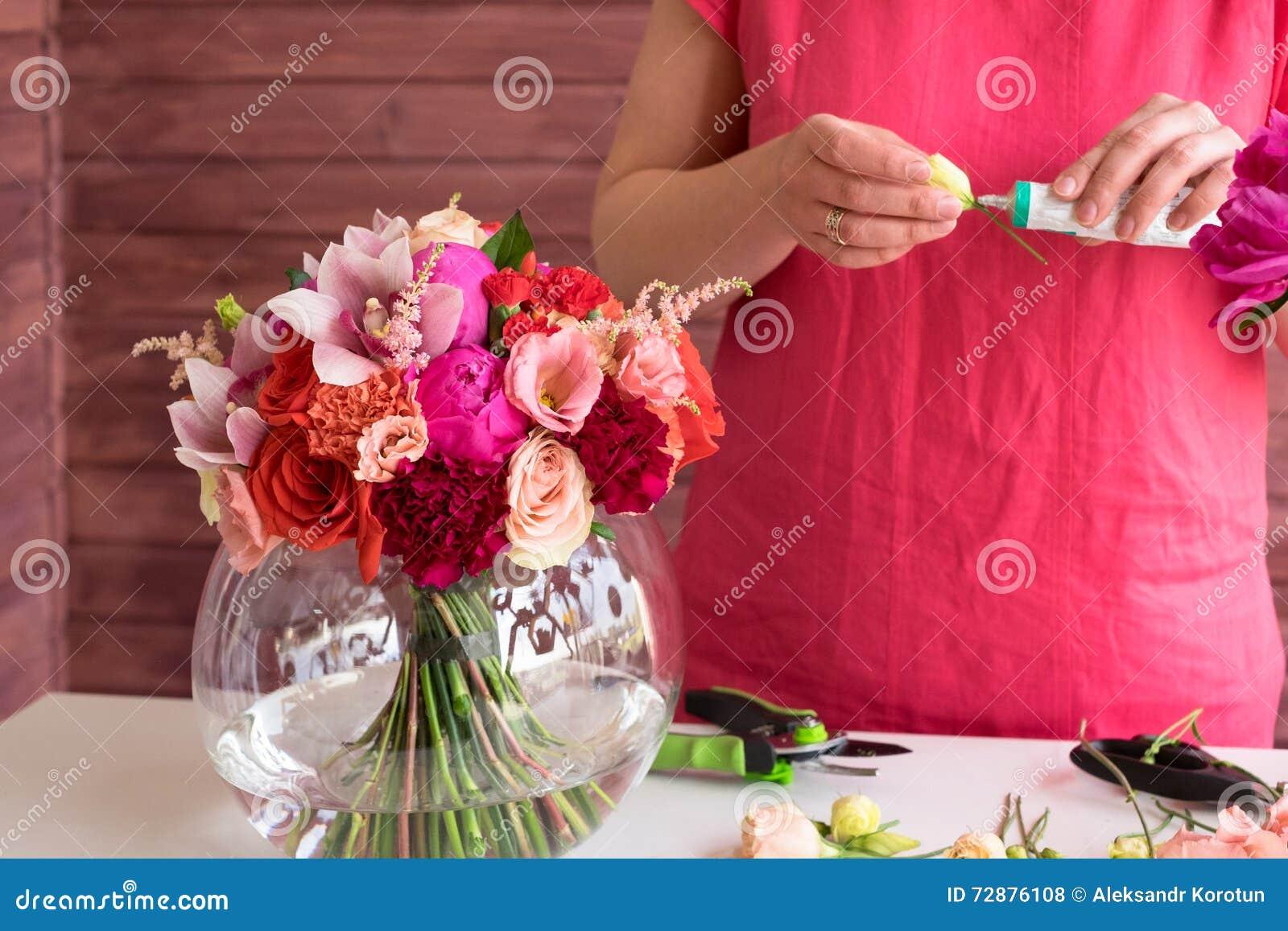 Girl Florist Making A Wedding Bouquet Stock Photo - Image of florist ...