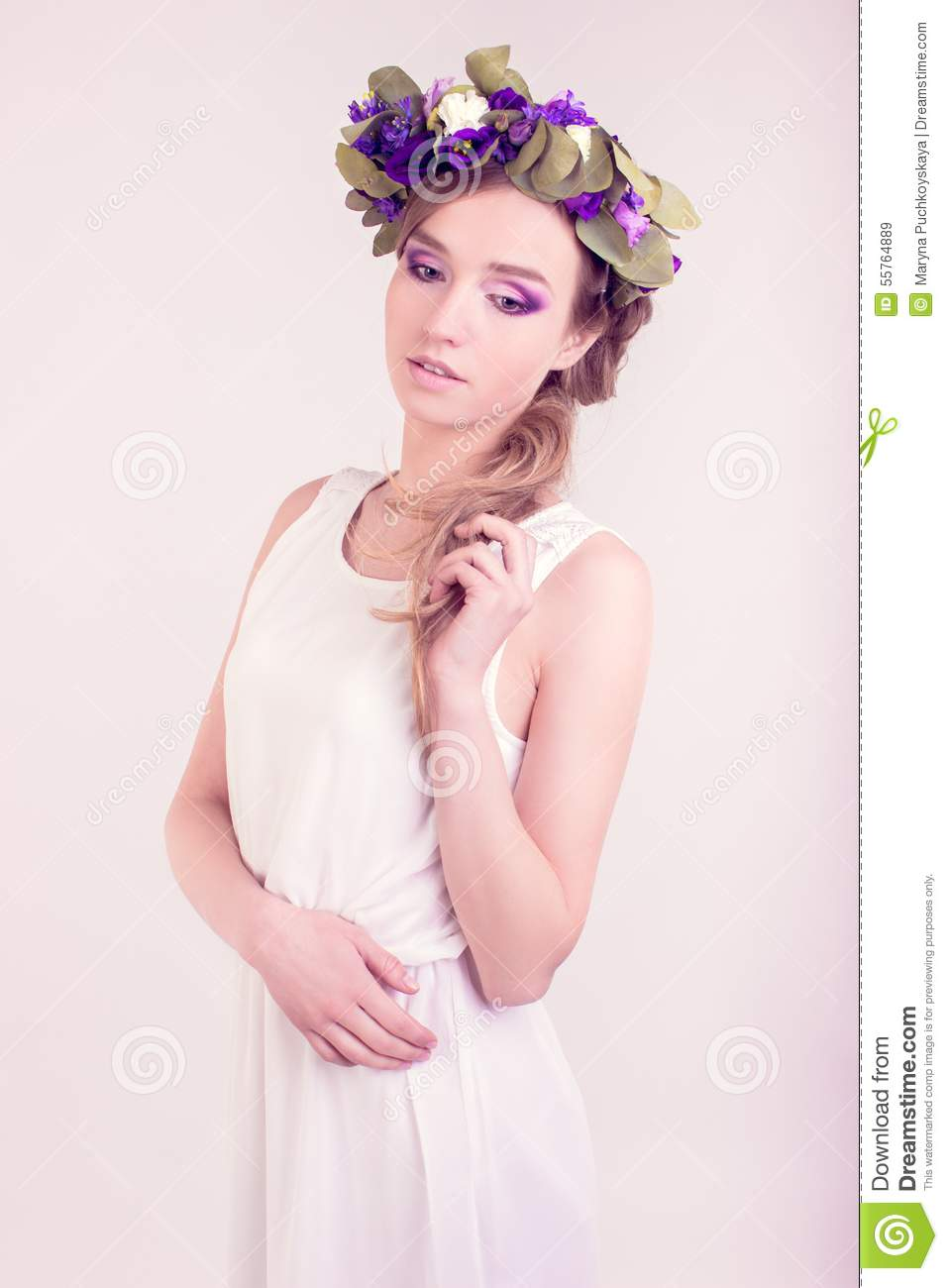 Girl With Flower Crown Posing In Studio Stock Image Image Of Face