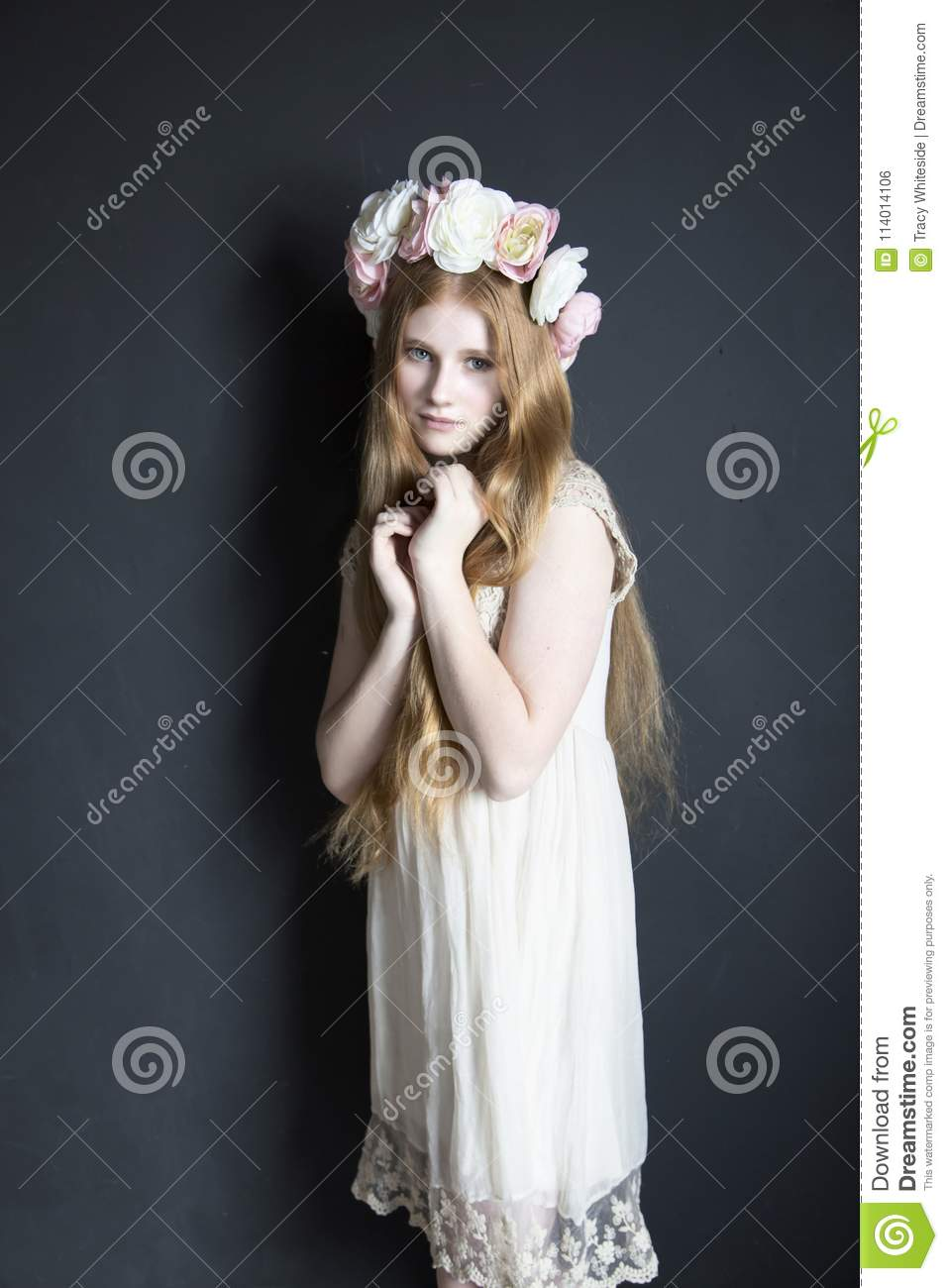 Girl In Flower Crown Stock Photo Image Of Magic Beautiful 114014106