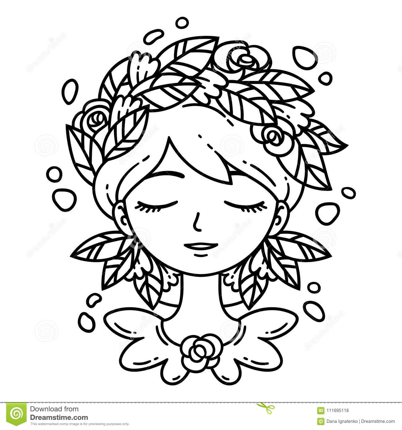Girl With Flower In Hair. Coloring Page. Stock Vector - Illustration ...
