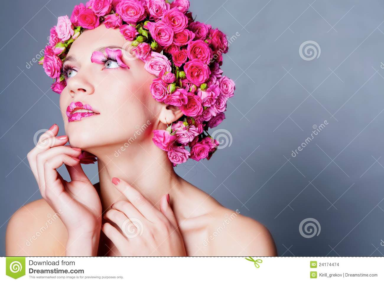 Girl With Flower Hairstyle Stock Image