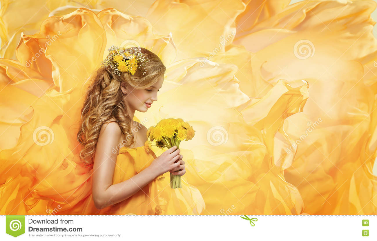 Girl Flowers Bouquet, Young Fashion Model Smelling Yellow Dandelion