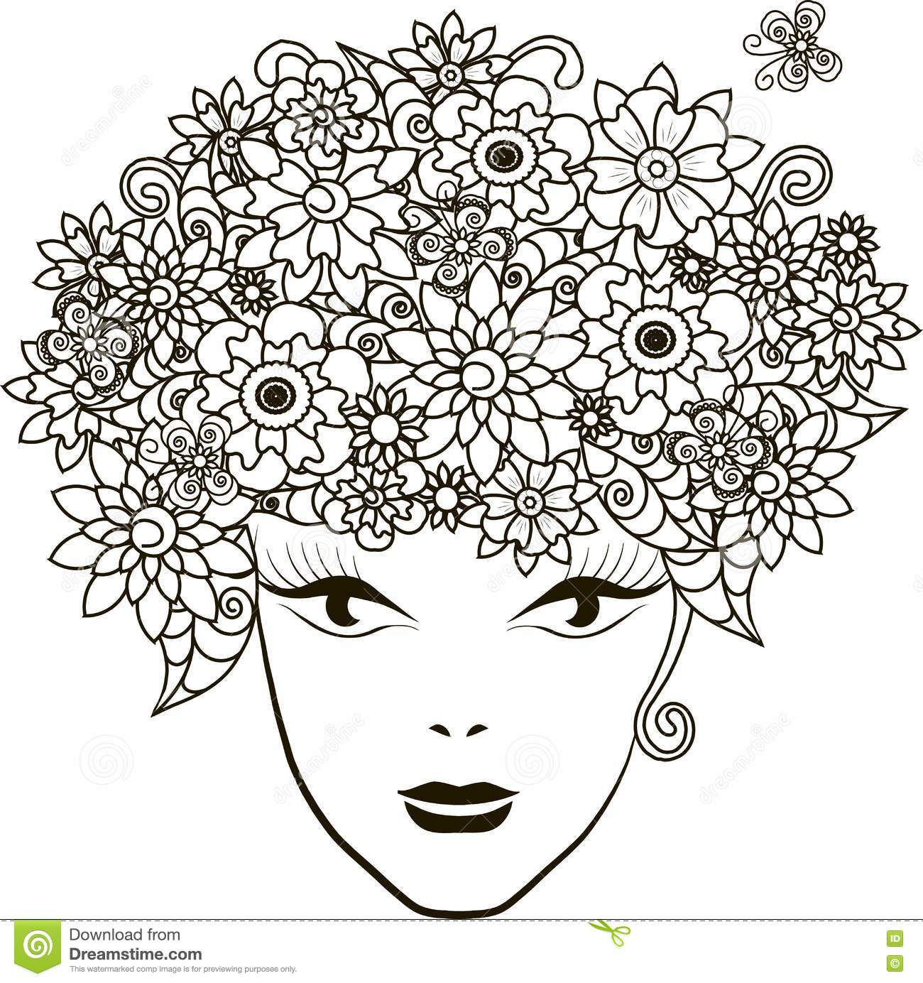 Girl With Flowers Hair Coloring Page Anti Stress Stock Vector