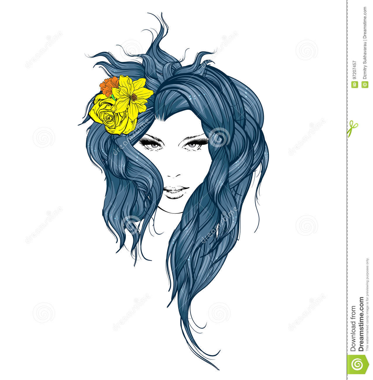 Girl With Flowers In Her Hair Stock Vector Illustration Of