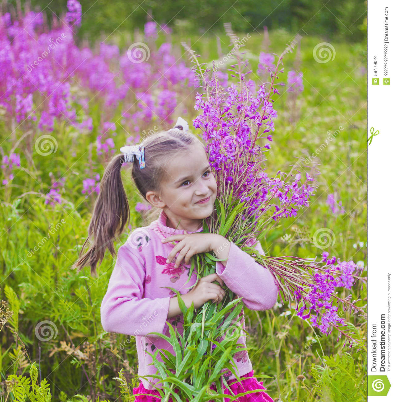 Girl with flowers in nature stock photo image 59479024 for Cheerful nature