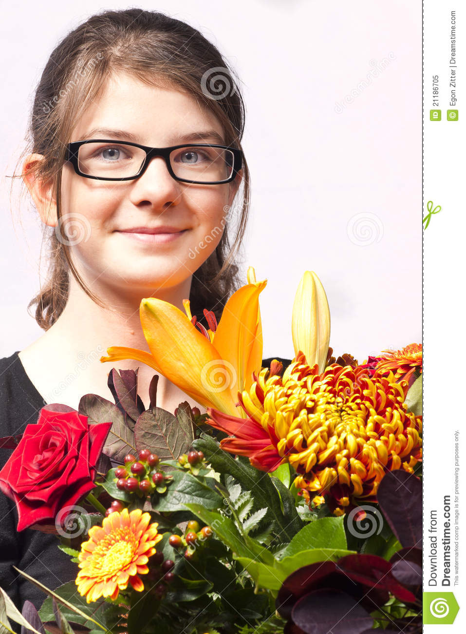 Girl with flowers smile