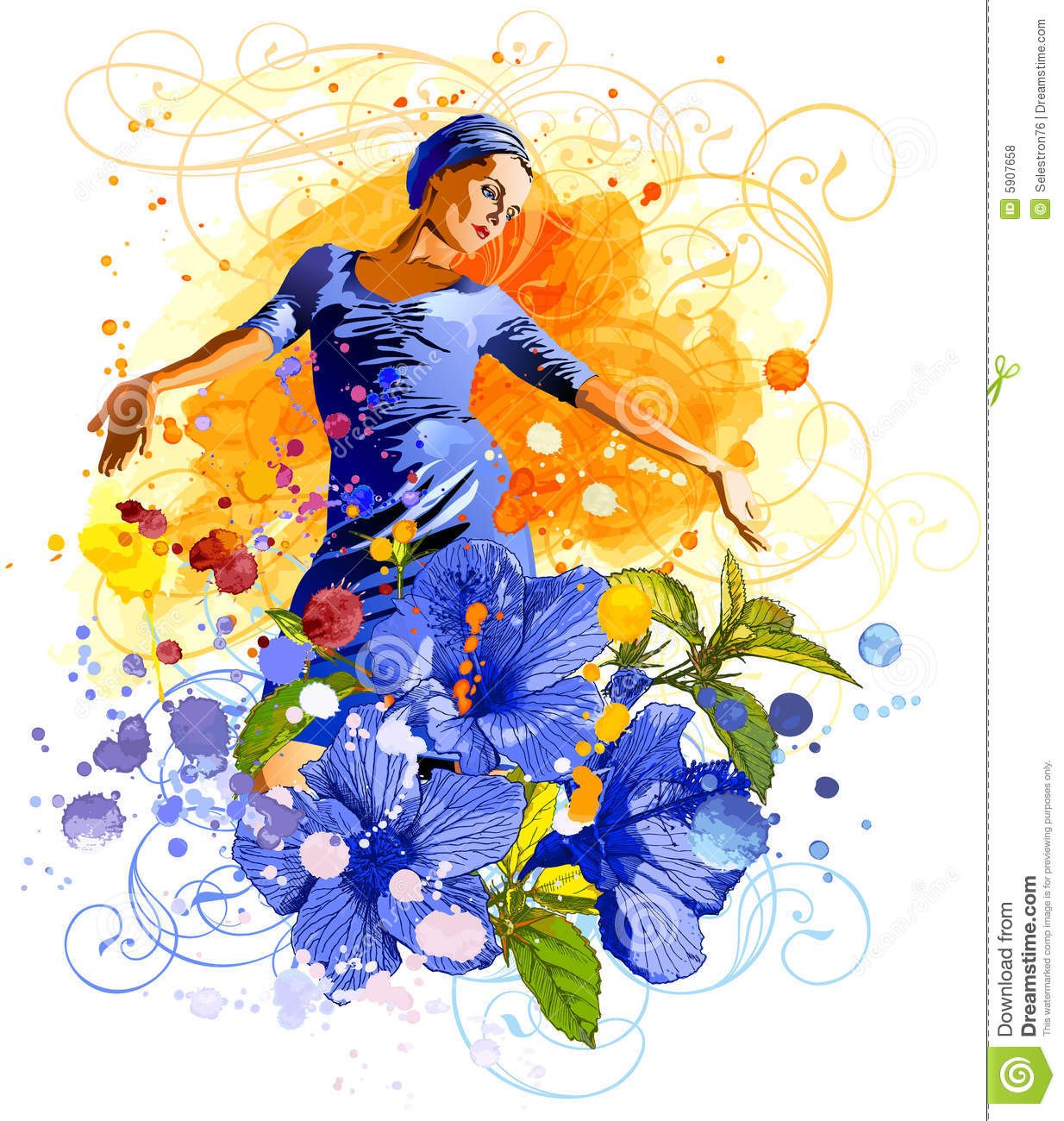 Girl, Flowers & Watercolors Royalty Free Stock Photos - Image: 5907658