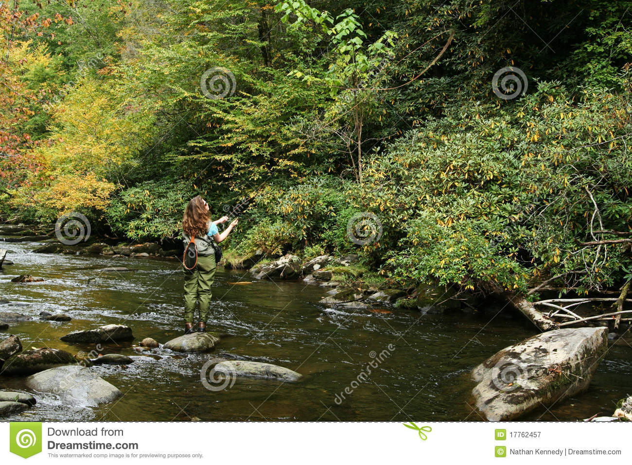Girl fly fishing stock image image of great united for Fishing times free